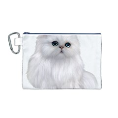 White Persian Cat Clipart Canvas Cosmetic Bag (M)