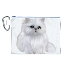 White Persian Cat Clipart Canvas Cosmetic Bag (L)