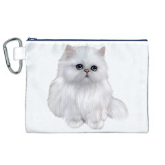 White Persian Cat Clipart Canvas Cosmetic Bag (XL)