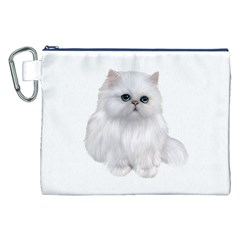 White Persian Cat Clipart Canvas Cosmetic Bag (XXL)