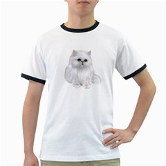 White Persian Cat Clipart Ringer T Shirts
