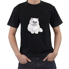 White Persian Cat Clipart Men s T-Shirt (Black) (Two Sided)