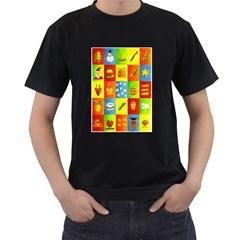 25 Xmas Things Men s T-Shirt (Black) (Two Sided)