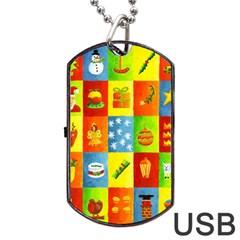 25 Xmas Things Dog Tag USB Flash (One Side)