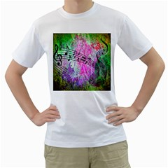 Abstract Music 2 Men s T Shirt (white) (two Sided)