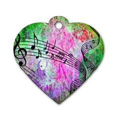 Abstract Music 2 Dog Tag Heart (one Side)