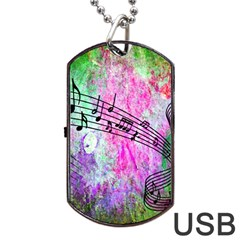Abstract Music 2 Dog Tag USB Flash (One Side)