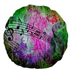 Abstract Music 2 Large 18  Premium Flano Round Cushions