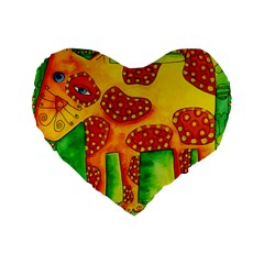 Spotty Dog Standard 16  Premium Flano Heart Shape Cushions