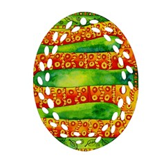 Patterned Snake Oval Filigree Ornament (2-Side)