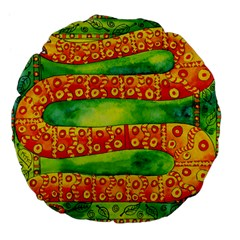 Patterned Snake Large 18  Premium Flano Round Cushions