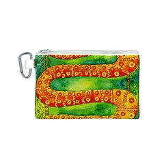 Patterned Snake Canvas Cosmetic Bag (S)