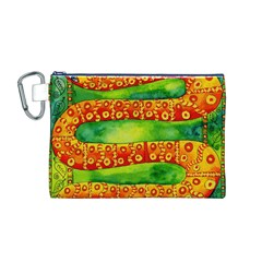 Patterned Snake Canvas Cosmetic Bag (M)