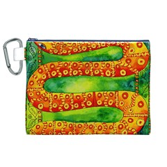 Patterned Snake Canvas Cosmetic Bag (XL)