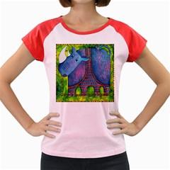 Patterned Rhino Women s Cap Sleeve T-Shirt
