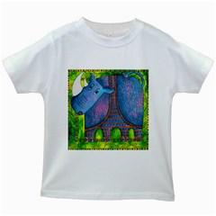 Patterned Rhino Kids White T-Shirts