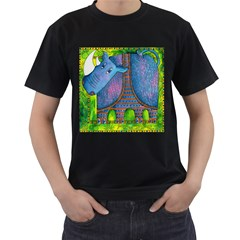 Patterned Rhino Men s T-Shirt (Black) (Two Sided)