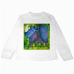 Patterned Rhino Kids Long Sleeve T-Shirts