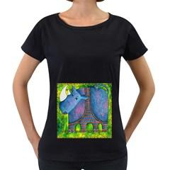 Patterned Rhino Women s Loose-Fit T-Shirt (Black)