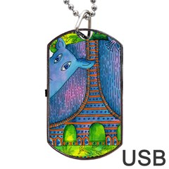Patterned Rhino Dog Tag USB Flash (One Side)