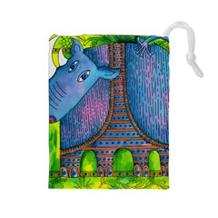 Patterned Rhino Drawstring Pouches (Large)