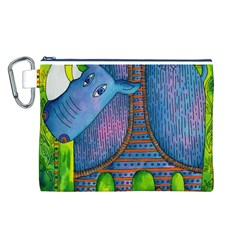 Patterned Rhino Canvas Cosmetic Bag (L)