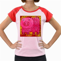 Patterned Pig Women s Cap Sleeve T-Shirt