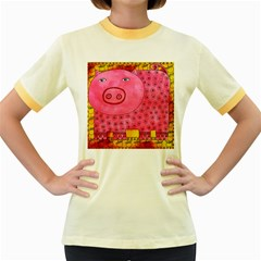 Patterned Pig Women s Fitted Ringer T-Shirts