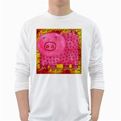 Patterned Pig White Long Sleeve T-Shirts
