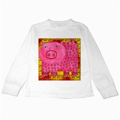 Patterned Pig Kids Long Sleeve T-Shirts