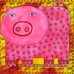 Patterned Pig Magic Photo Cubes