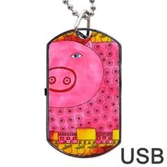 Patterned Pig Dog Tag USB Flash (One Side)