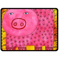 Patterned Pig Double Sided Fleece Blanket (Large)
