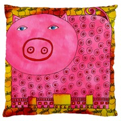 Patterned Pig Large Flano Cushion Cases (One Side)