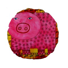Patterned Pig Standard 15  Premium Flano Round Cushions