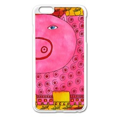 Patterned Pig Apple iPhone 6 Plus Enamel White Case