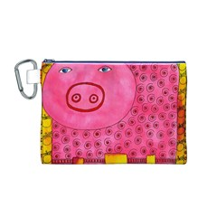 Patterned Pig Canvas Cosmetic Bag (M)