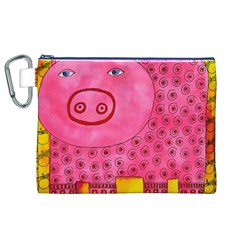 Patterned Pig Canvas Cosmetic Bag (XL)