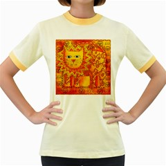 Patterned Lion Women s Fitted Ringer T-Shirts