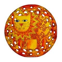 Patterned Lion Ornament (round Filigree)