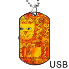 Patterned Lion Dog Tag USB Flash (Two Sides)