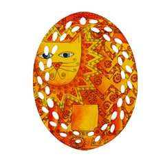 Patterned Lion Oval Filigree Ornament (2-Side)