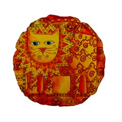 Patterned Lion Standard 15  Premium Flano Round Cushions