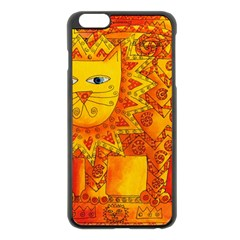 Patterned Lion Apple iPhone 6 Plus Black Enamel Case