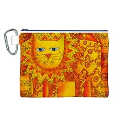 Patterned Lion Canvas Cosmetic Bag (L)