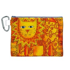 Patterned Lion Canvas Cosmetic Bag (XL)