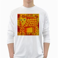 Patterned Leopard White Long Sleeve T-Shirts