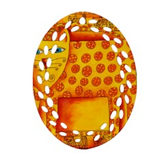 Patterned Leopard Oval Filigree Ornament (2-Side)