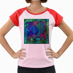 Patterned Hippo Women s Cap Sleeve T-Shirt