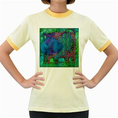 Patterned Hippo Women s Fitted Ringer T-Shirts